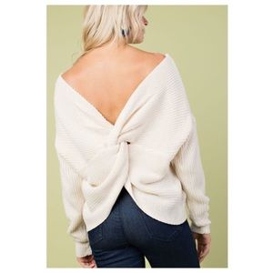 Sweaters - Off White Twisted Back Sweater
